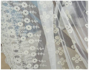 1 x fabric coupon embroidered 130x50cm flower lace tulle wedding dress