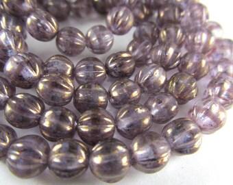 Lavender Golden Luster Czech Glass 6mm Melon Jewelry Beads (25)