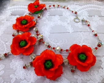 Poppy necklace Poppy jewelry Red flower necklace Poppy flower Flower necklace Summer necklace Jewelry red Romantic jewelry Handmade necklace