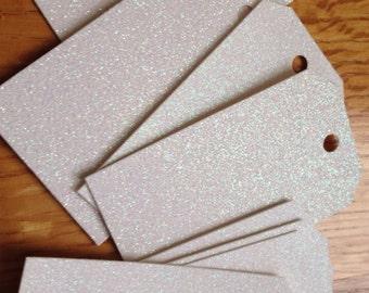 white . glitter . gift . favor . tags