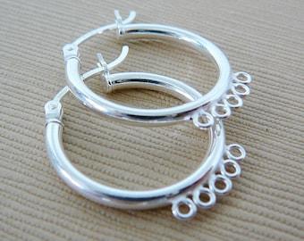 Sterling Silver Hoops Earrings 925 Earwires (21mm) 1 Pair 5 Loop jewelry supplies