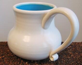Huge Turquoise Blue Pot Bellied Mug 20 oz Stoneware Pottery Coffee Mug