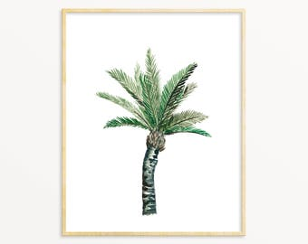 Watercolor Palm Tree Art Print. Tropical Living Room Wall Art. Palm Tree Painting. Tropical Home Decor. Vintage Style Palm Tree Painting.