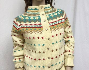 Cardigan Sweater ,Soft sweater,  Small,button up,sweater,yellow,red,gold,turquoise