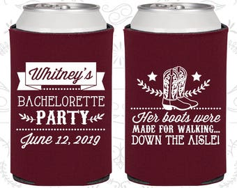 Her Boots were made for walking down the isle, Personalized Bachelorette Giveaways, Western Bachelorette Party Ideas (60072)
