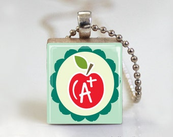 TEACHER Scrabble Pendant Necklace with Ball Chain Necklace or Key Ring