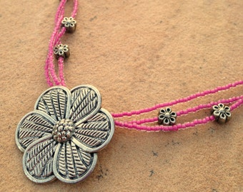 Necklace - Pink with Flower Charm - Triple Strand, Metal Links, Mother-of-Pearl Chips