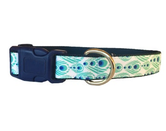 Peacock Feather Dog Collar - Adjustable, Beautiful, Blue