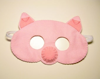 Pig pink felt mask kids animal Handmade costume for boys girls soft Dress up play accessory, Theatre roleplay