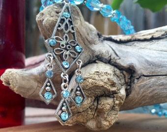 aquamarine swarovski crystal necklace