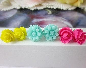 Set of 3 Flower Stud Earrings. Yellow, Mint Green, Fuchsia flowers. Gift for her.