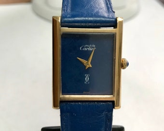 Vintage Ladies Must De Cartier, Mechanical, 18k Gold Electroplated, Blue Tank Watch