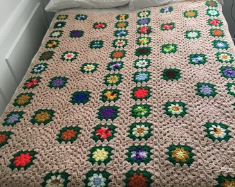 flower patch granny square throw blanket twin size hand crochet afghan tan 68x56