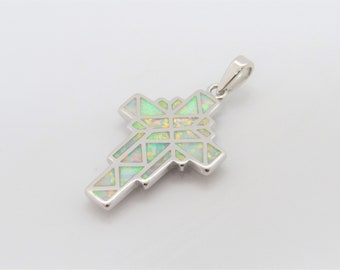 Vintage Sterling Silver White Opal Cross Pendant
