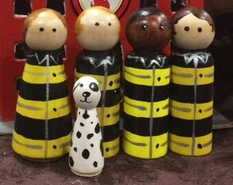 Firefighters Peg Dolls Set
