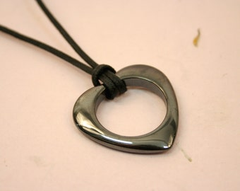 Hematite Heart Necklace, Large Black Stone Open Heart Pendant