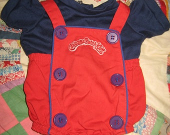 Cabbage Patch Kid Clothing/Outfit Red with Blue Button Romper