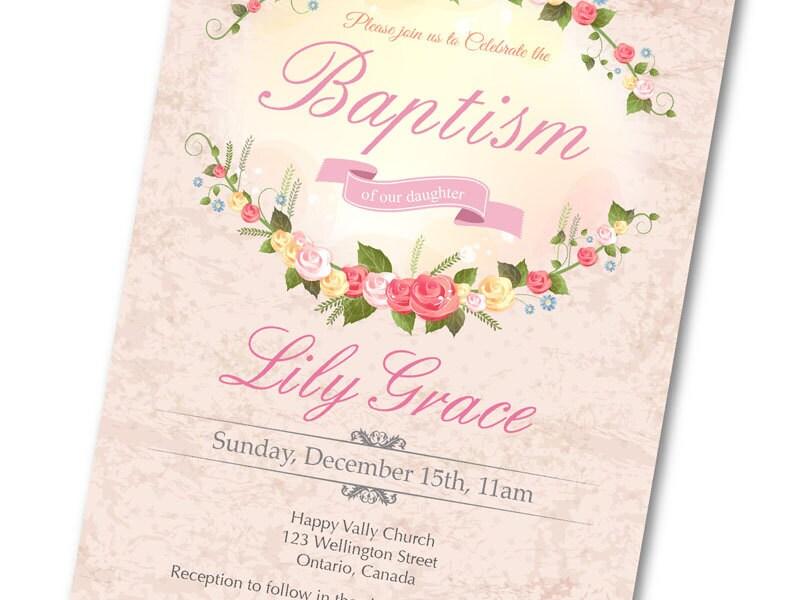 Printable Baby Girl Baptism Invitation. Vintage Pink
