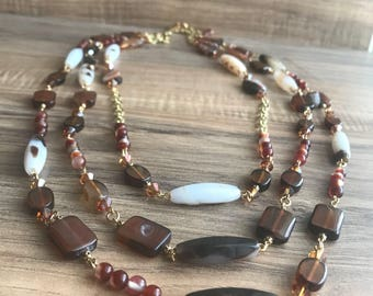 Triple strand, rust, copper, & white, Swarovski crystals, Czech pressed glass N144