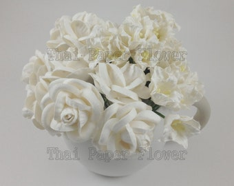 25 White Lilly and Roses Mulberry Paper Flowers Scrapbook Craft Wedding Supply Card Making 15-60LYL15