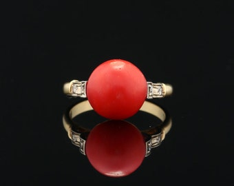 Art Deco naturalred  coral and diamond ring