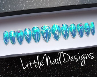Hand Painted Shattered Glass Iridescent Holographic False Nails | Little Nail Designs