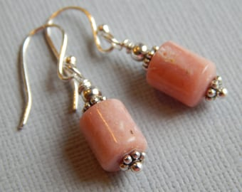 Pink Opal Earrings, Sterling French Wires, Wire Wrapped, Artisian, Gifts for Her