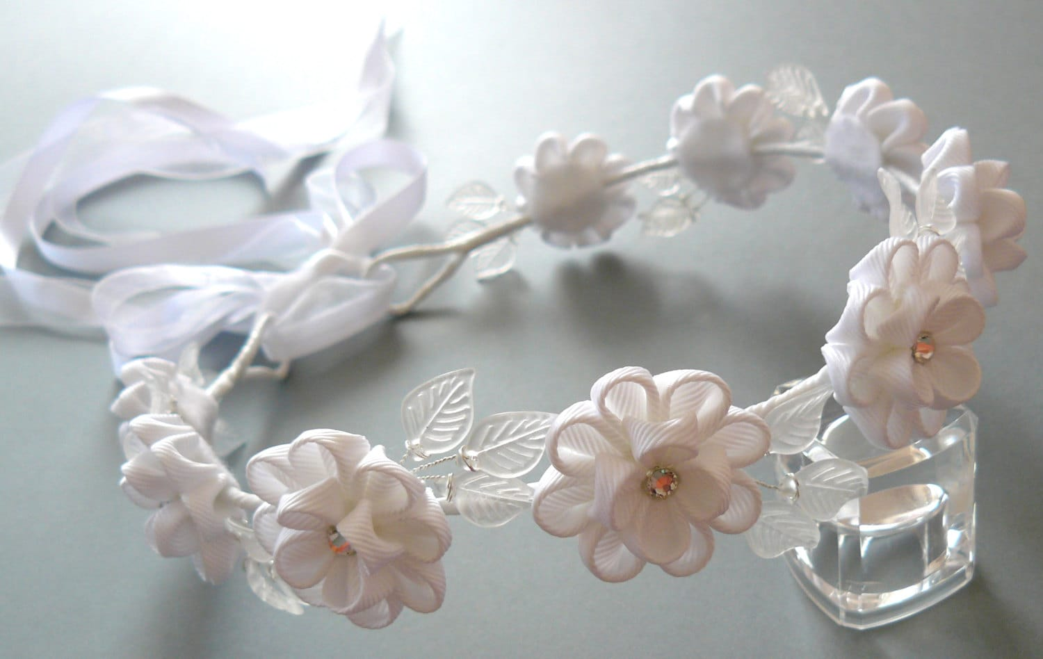 White Kanzashi Fabric Flower Wreath White Bridal Hair