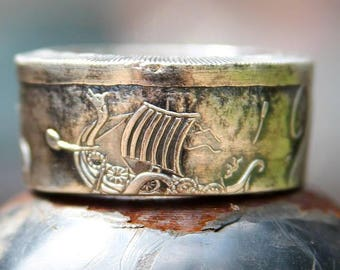 Silver or Copper Kraken Coin Ring