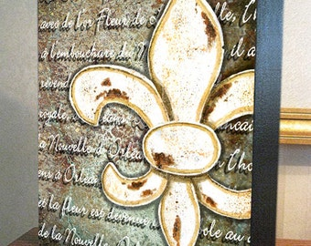 "Fleur de Lis Wall Decor ""Fleur de Lis Orléans"" 8x10x1.5"" and 11x14x1.5"" Gallery Wrap Canvas Print"
