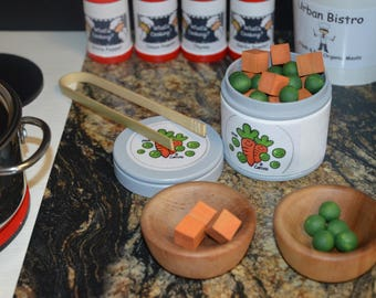 Peas and Carrots Pretend Play Food, Can of Vegetables, Count, Sort, Make Patterns Wooden Sensory Toy