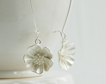 Silver Flower Earring Boho Silver Jewelry Gift for Her Floral Earrings Bridal Earrings Silver Earring Bridesmaid Gift Wedding Jewelry