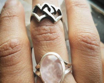 Two Hearts Midi Ring