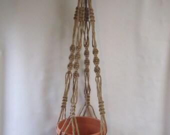 Macrame Plant Hanger Natural Jute Vintage Style 40 inch