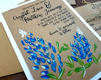 bluebonnet wedding invitation set hand painted flower invite