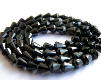 AAA Black Spinel Gemstone Faceted drop 4 to 5mm Full Strand 70 beads