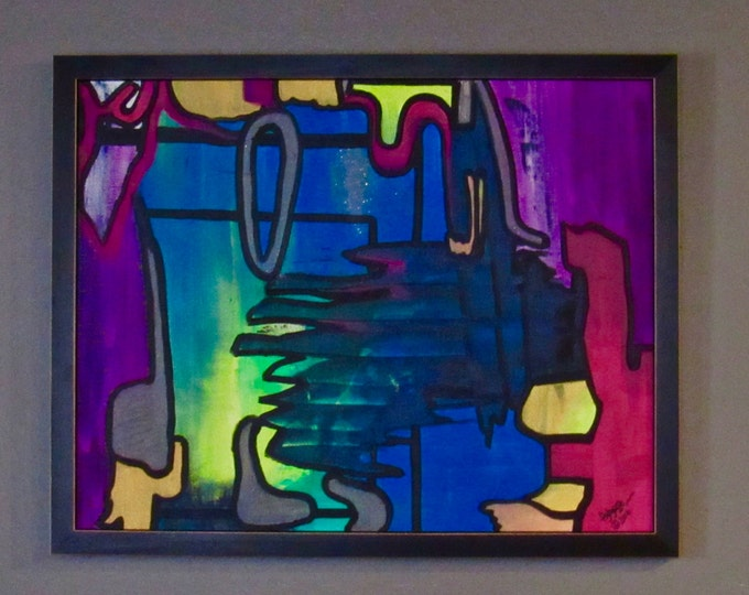 """Framed Abstract Painting """"Belonging"""""""