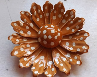 Vintage enamel flower brooch or pin polka dot two tone layered dimensional white and caramel brown