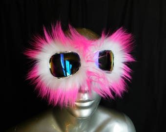 Pink Tips Furry Monster Dust Goggles Great fur Burning Man! - Furry Aviator Goggles -Fur Motorcycle Goggles -Pink and White Faux Fur
