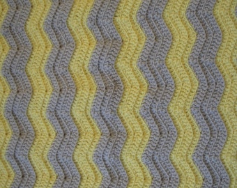 Two Color Ripple Crochet Afghan