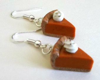 Pumpkin Pie Earrings - Handmade Polymer Clay Drop Style