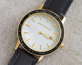 Black Stardust Watch, Meteorite In Golden Metal Wristwatch With Black Leather Strap, Meteorite Jewelry, Johan Eduard Watches