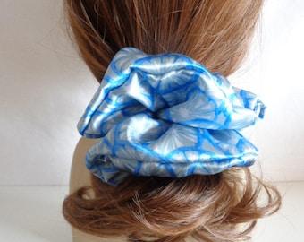 scrunchies, Blue silk  Scrunchies   chouchou , blue hair elastic,  Hair Accessories  , Handmade by  ScrunchiesCo .