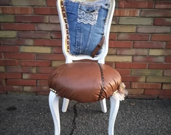 Accent Chair - Denim Chair - Lace - Leather Chair - Upcycled Chair - Home Decor