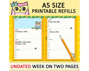 PRINTABLE A5 Size UNDATED Week On Two Pages Cute Owl Refills for Filofax Kikki.K Louis Vuitton Planner Instant Download