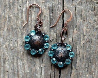 Chunky Western Glam- Small Bronze Concho Drop Earrings with Blue Rhinestones