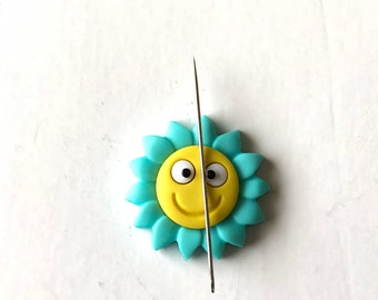 Sun Needle Minder, Happy Sun Needle Minder, Happy Face Needle Minder, Needle Nanny, Needle Keeper, Sewing Notion, Sewing Tool