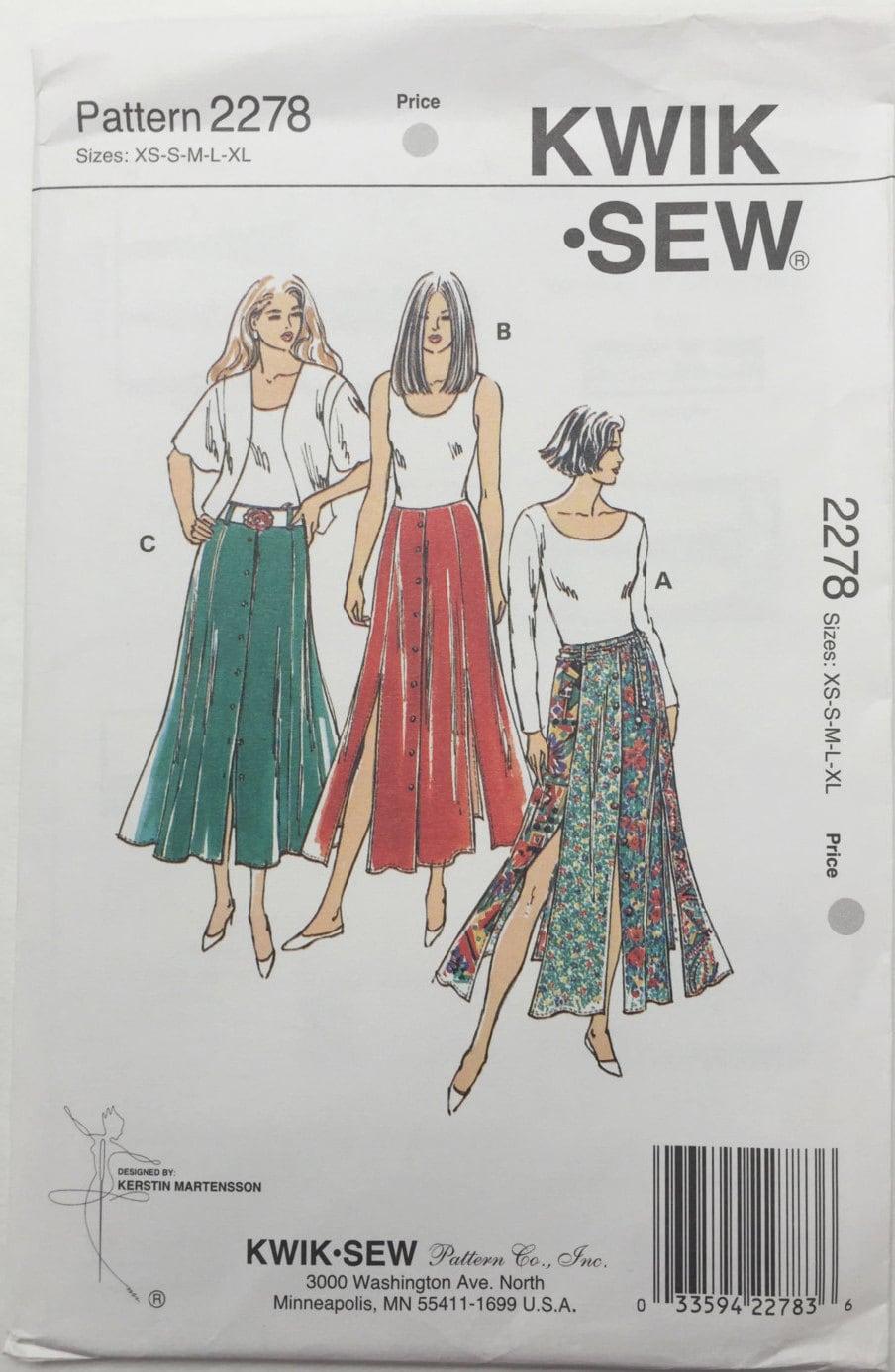 Kwik coser faldas tallas XS-S-M-L-XL patrón 2278 señoritas; Vintage ...