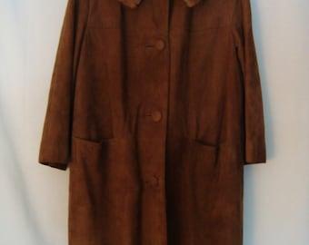 1960s Caramel Suede Mink Collar Coat