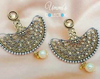Silver Golden Chandelier Indian Earrings